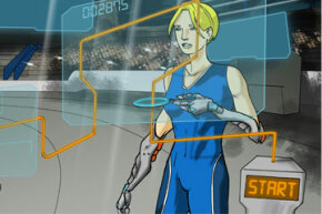 Drawing of the Cybathlon's powered arm prosthesis event in action