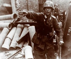 Nazi German soldiers attempt to organize a defense Warsaw, Poland, in the summer of 1944. See more pictures of World War II.