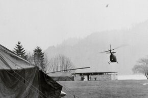 Helicopters of the 3rd Armored Cavalry Regiment from Ft. Lewis, Washington, prepare to land after making a terrain search for hijacker D.B. Cooper.