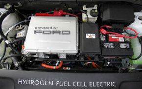The engine of a Ford hydrogen fuel cell electric car. The auto was on display at the 2005 National Hydrogen Association's national conference.