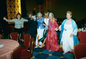 DAR members find time for fun and an impromptu kickline.