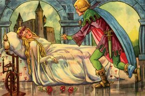 Sleeping Beauty awaits a kiss from Prince Charming in this illustration that sticks closely to the sanitized version of the story.