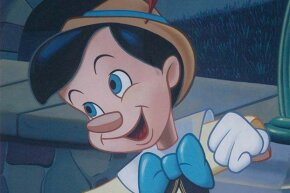 The Disney version of Pinocchio depicts a much happier puppet than the original story.