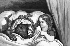Strange bedfellows: In the original fairy tale, the wolf eats Little Red Riding Hood. In some later versions, she is cut out alive from the wolf's stomach.