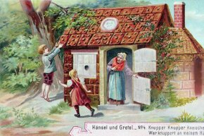 At least the witch doesn't look so scary in this depiction of 'Hansel and Gretel.' Maybe that's because it was part of an ad for meat paste.