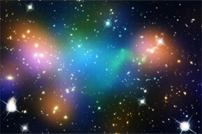 "This composite image of the merging galaxy cluster Abell 520 has superimposed, ""false-colored"" maps that show the cluster's concentration of starlight (orange), hot gas (green) and dark matter (much of the blue)."