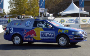 A Volkswagen Passat, modified and robotized by a team from Stanford University, competes in the DARPA Urban Challenge in 2007.