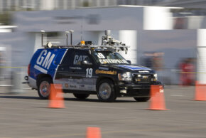 """A modified Chevrolet Tahoe known as the """"Boss"""" won the DARPA Urban Challenge and went on to compete at the 2008 Consumer Electronics Show."""