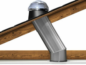 A cross-section of a daylighting device installation