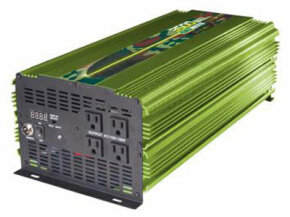 If you have serious power requirements, you might need an inverter like this. It requires a heavy-duty 24-volt battery and has an output of 3,500 watts. You could run almost anything with this, including air-conditioners and other large appliances.