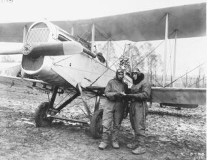 A de Havilland DH-4 that arrived in the United States in August 1917 became the prototype for DH-4s to be manufactured in the U.S. for use by American fliers such as the men seen here. See more classic airplane pictures.