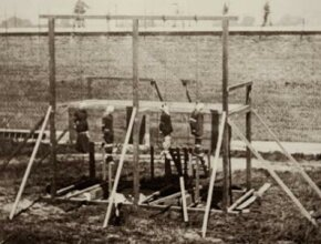 The conspirators in the plot to kill President Lincoln hang from the gallows in the yard of the Old Penitentiary at the Washington Arsenal, Washington, D.C., July 7, 1865. See more death pictures.