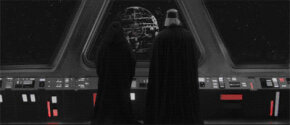"""This is NOT the Death Star. Vader and Palpatine survey the CIS's recently captured """"Great Weapon."""""""
