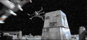 A Turbo laser turret on the Death Star's surface tracks enemy starfighters.