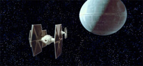 A routine TIE Fighter patrol guards the Death Star.