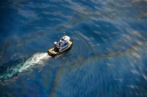 This aerial image of the oil spill was taken on May 6, 2010, just a few weeks after the initial disaster.