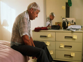 This man with Alzheimer's disease has forgotten how to get around his home.