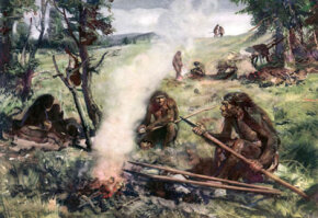 The Neanderthal people (shown circa 30,000 B.C.) depicted in this illustration likely would've smelled pretty ripe.