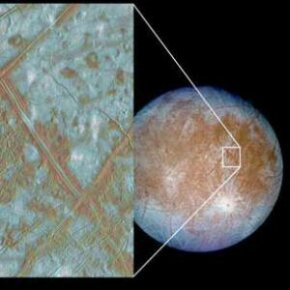 Europa's ice rafts are blocks of ice that show that Europa may have had a subsurface ocean in its past.