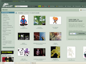 deviantART's home page randomly displays works of art created by its members. See more pictures of popular web sites.