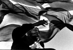 Cuban premier Fidel Castro speaking in Chile, 1972.