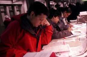 Filing your taxes at the last minute -- or even late -- is better than not filing at all. These tax payers filed at the very last minute in Manhattan in 2000.