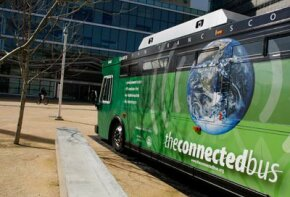 The Connected Bus, a new bus with several high-tech features, including a diesel hybrid system, is currently in service in San Francisco, Calif.