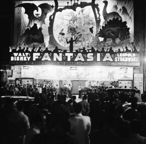 View of the crowd assembled to attend a screening of the Disney animated feature Fantasia in Rio de Janeiro, Brazil, 1941.