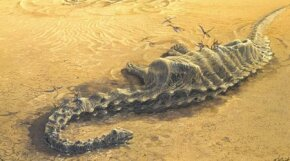 If convered by sand, these young Diplodocus specimens would have become fossils for paleontologists to study.