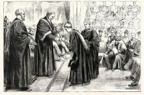 Vice chancellor of London University, Sir James Paget, confers degrees to students. Paget, a well-known surgeon and pathologist, gave his name to several diseases.