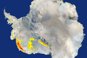 This image shows what a team of NASA scientists says is clear evidence that extensive areas of snow melted in west Antarctica (L) in January 2005 in response to warm temperatures. This was the most significant melt observed during in 30 years.