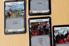 An example of an Action chain that can lead to great success. First I played a Village, giving me an extra draw and two extra actions. The first extra action (a Smithy, partially shown at top) gave me three extra draws, and the second (a Market) yet another draw and action (plus a few extra things; the Market is a powerful card).