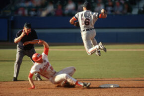 The double play involves three players in a snatch-toss-catch-tag-toss-catch maneuver that's so impressive it's worth two outs. See more sports pictures.