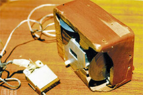 Alternate view of Engelbart and English's computer mouse prototype. Check out those wheels.