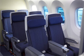 The business class seats on one of All Nippon Airways' Boeing 787 Dreamliners