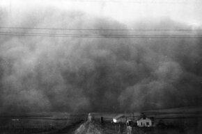 A black blizzard swallows the horizon in 1935.