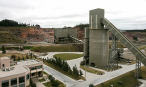 The Cementos Artigas plant near Montevideo, Uruguay, produces portland cement by grinding recycled gypsum and portland cement clinker using rice husk as fuel, per the Kyoto Protocol.