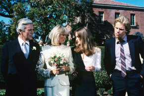 """The characters of Fallon (Pamela Sue Martin, right) and Steven Carrington (Al Corley, right) and Blake Carrington (John Forsythe) and Krystle Grant Jennings (Linda Evans) in the first season of """"Dynasty,"""" 1981."""