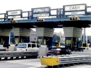 Motorists can drive through E-ZPass toll lanes without stopping.