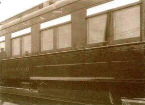"""Before 1900, most railroad cars were built primarily of wood. As accidents involving wooden cars increased, composite steel and full-steel passenger cars began to appear, like this steel-built Pullman sleeping car, """"Fernwood""""."""