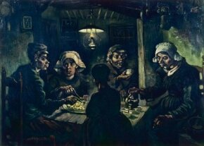 Vincent van Gogh's The Potato Eaters is an  (32-1/4 x 45 inches) that is housed in the Van Gogh Museum in Amsterdam. See more pictures of van Gogh paintings.