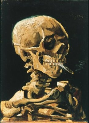 Vincent van Gogh's Skull of a Skeleton with Burning Cigarette is an oil on canvas (12-1/2x9-1/2 inches) housed in the Van Gogh Museum in Amsterdam.