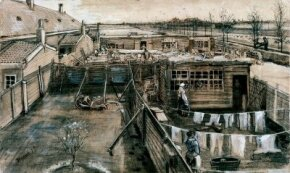 Vincent van Gogh's Carpenter's Yard and Laundry, pencil, pen, brush, heightened with white (11-1/4x18-1/2 inches), is housed in the Kröller-Müller Museum in Otterlo, Netherlands.