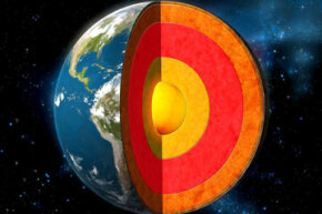 A depiction of the Earth's crust, mantle and core.
