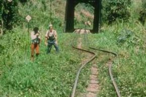 Railroad tracks shifted by the 1976 Guatemala earthquake