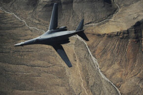 A B-1B Lancer maneuvers over New Mexico. See more flight pictures.