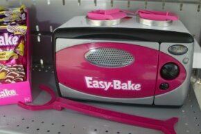 Many adults harbor fond memories of creating small-scale homemade baked goods in a toy oven similar to this one.