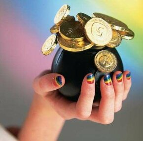 Create radiant rainbows nail art.