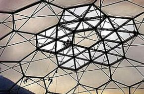Workers installing ETFE foil panels in the dome ceiling