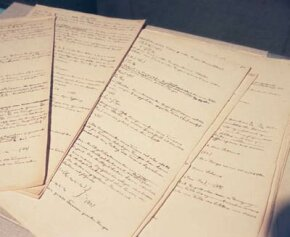 Pages from Albert Einstein's original manuscript in which he defines his theory of relativity